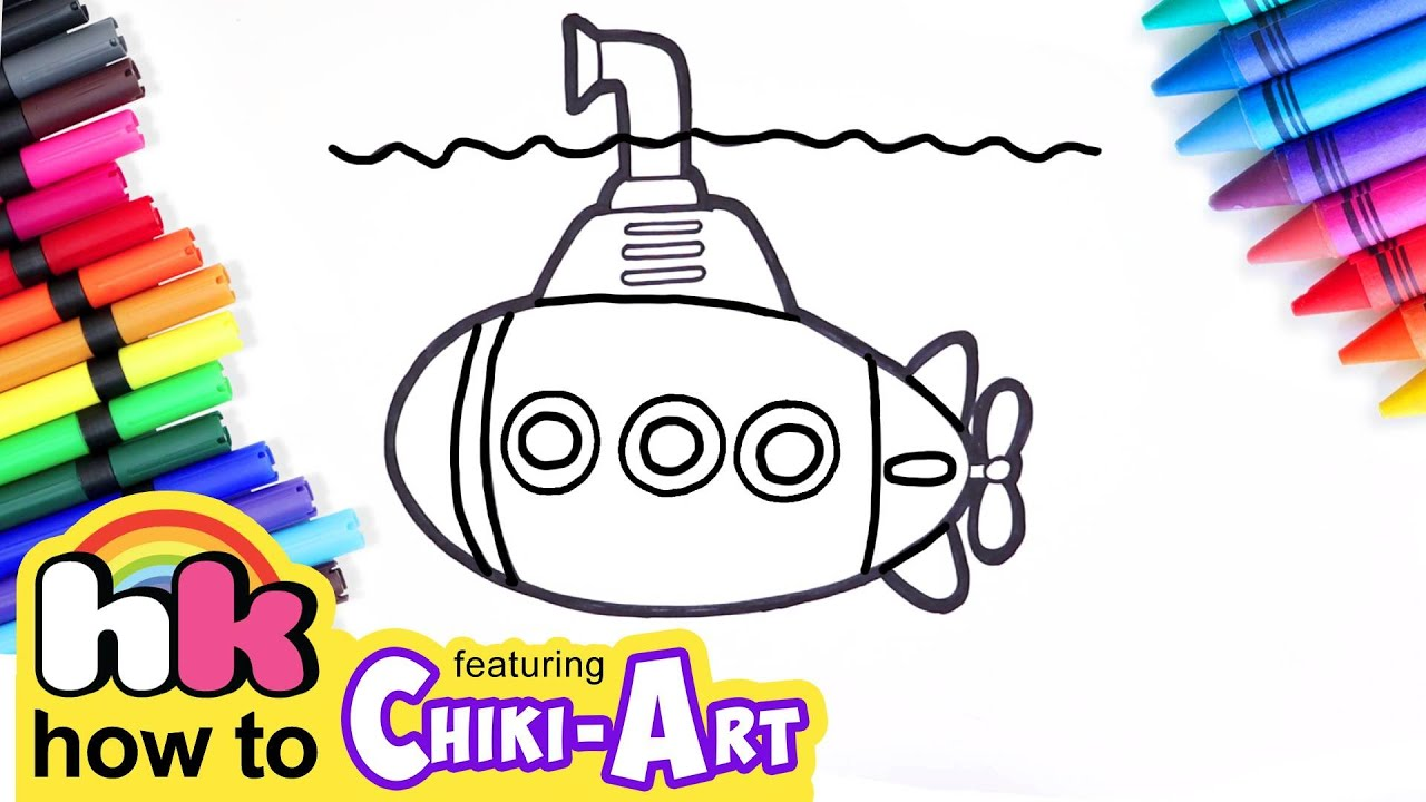 Learn How to Draw & Color Submarine | Preschool Learning Videos for Kids | HooplaKidz How to