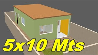 Ideia para Construir Casa Pequena Simples 5x10 em terreno 7x16