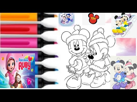 Coloring Mickey And Minnie Mouse Winter Coloring Book Page By Color With Rainbow Ruby Youtube