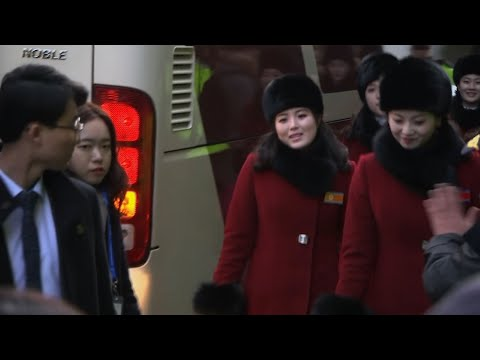 North Korean Cheer Squad Arrives for Olympics