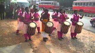 Panchari Melam ( Orchestra on Chenda - Percussion instrument ) performed by women in Kerala.AVI