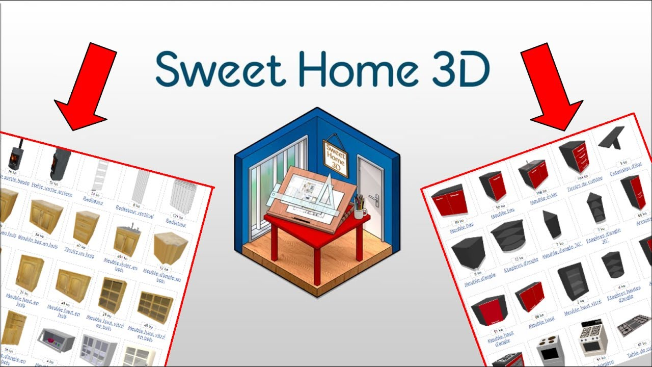 impoter des meubles sur sweet home 3d youtube. Black Bedroom Furniture Sets. Home Design Ideas