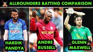 Hardik Pandya vs Andre Russell vs Glenn Maxwell Allrounder Batting Comparison | ICC and IPL Stats