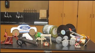 Rubber band powered cars, mousetrap car alternative/// Homemade Science with Bruce Yeany