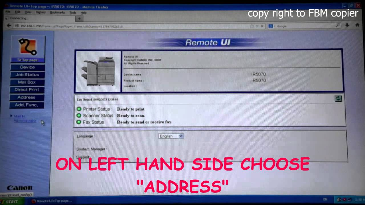 How to create FTP Scan account using Canon Remote UI (From Computer)