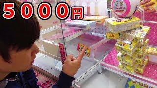 UFOキャッチャー5000円たくさんやってみた!スクイーズやお菓子‼