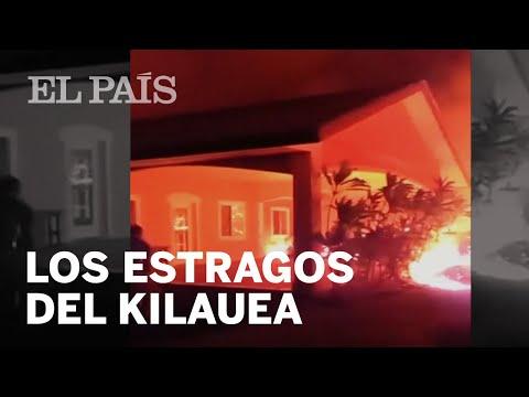 La lava del volcán Kilauea incendia unas casas