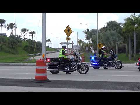 President Donald Trump's Motorcade First Time in Miami at Miami International Airport