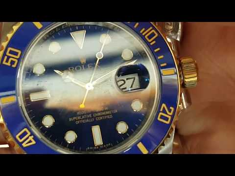 Rolex Submariner 116613LB blue dial two tone bracelet swiss made luxury watch Unboxing