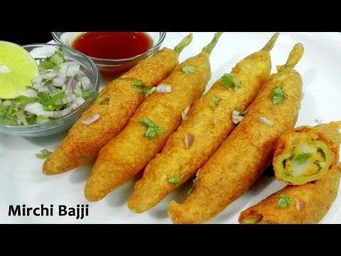 Mirchi Bajji - Stuffed Mirchi Bada Recipe || Mirchi Bhajia