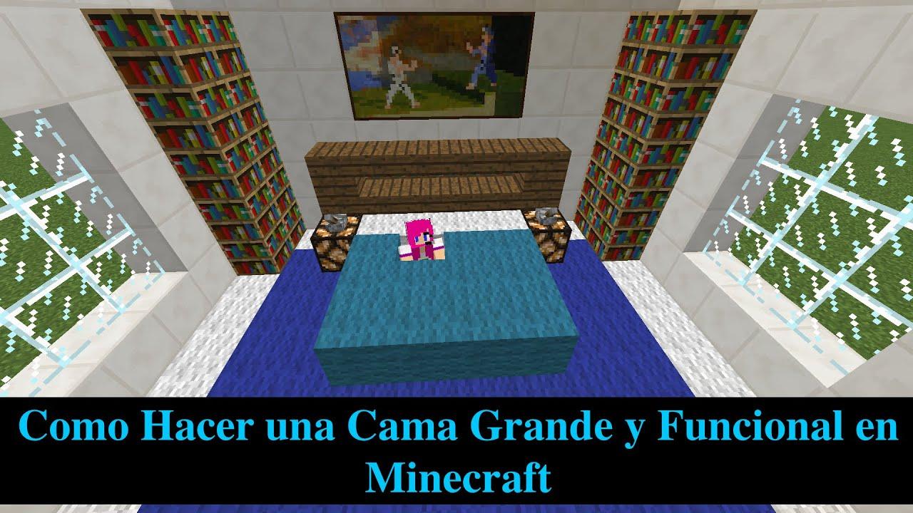 Como hacer una cama grande y funcional en minecraft youtube for Cama minecraft