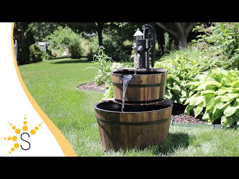 Sunnydaze Rustic 2-Tier Wood Barrel Water Fountain with Hand Pump DSL-055
