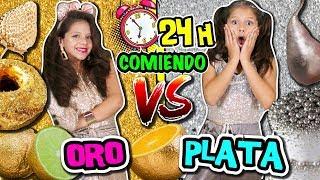 👑 24 HORAS COMIENDO COMIDA ORO vs PLATA 💍 Reto PASO UN DÍA PROBANDO comida POR COLORES challenge