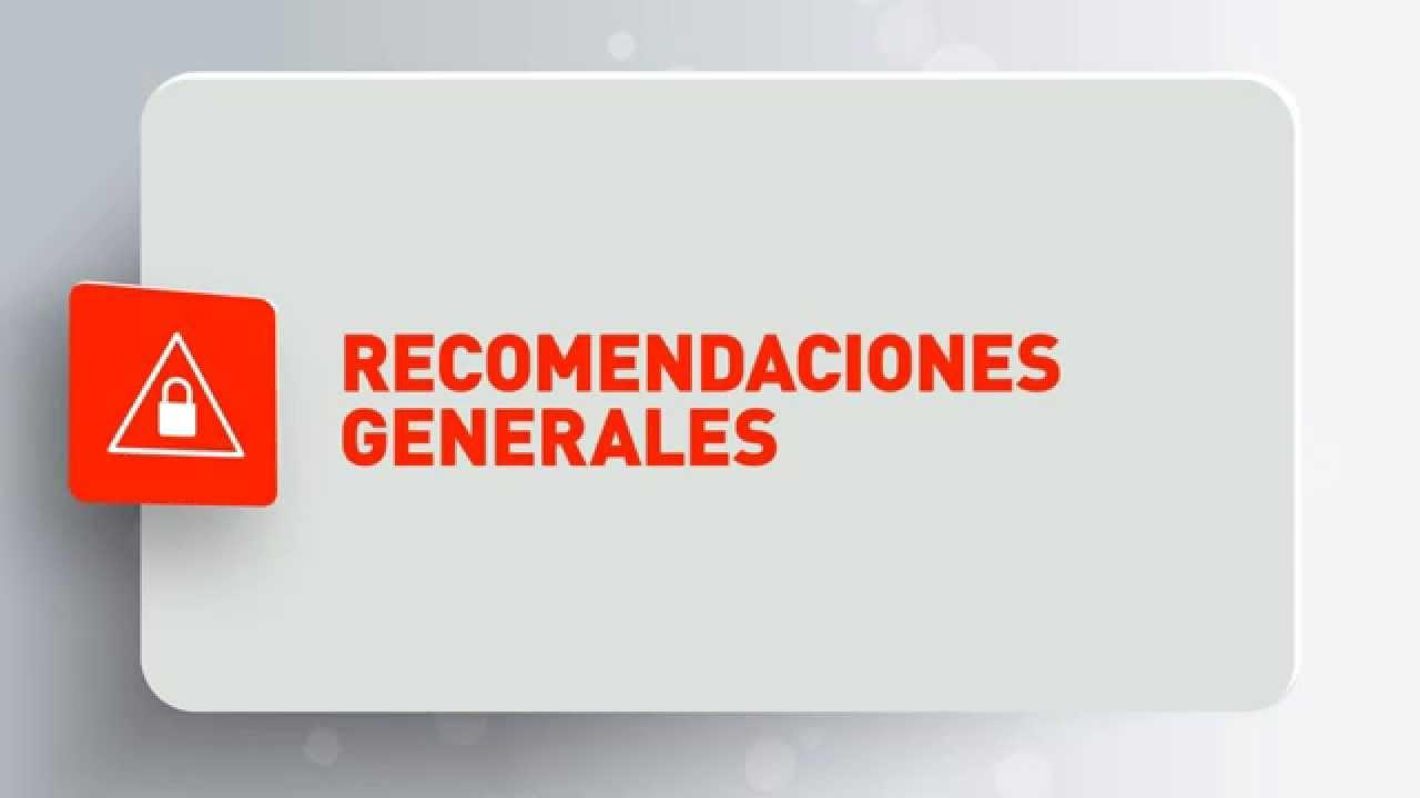Recomendaciones de seguridad - Recomendaciones Generales
