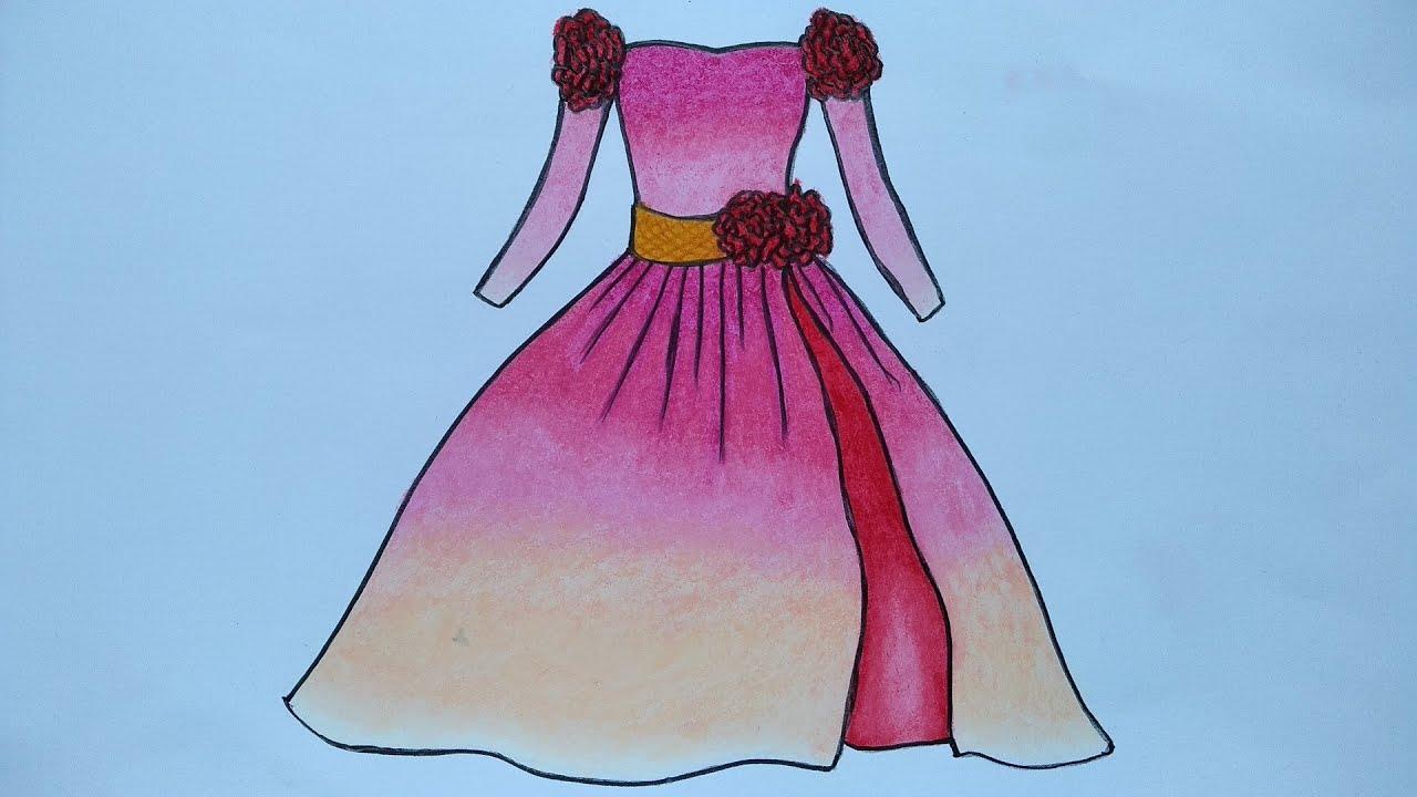 Cara menggambar gaun  Menggambar gaun pesta  Belajar menggambar baju  yang mudah