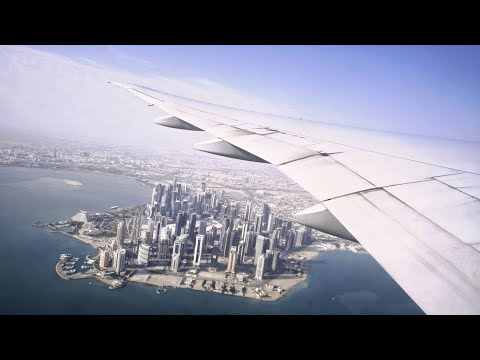 AWESOME Doha SKYLINE Views! Qatar Airways Boeing 777-300ER Take Off from Doha Hamad Intl Airport