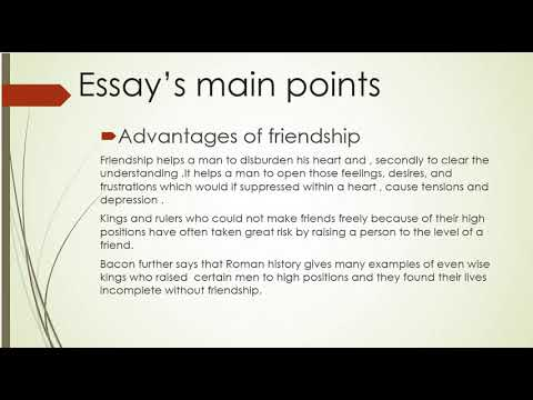 """Main points of essay """"Of friendship"""" by Francis Bacon [ M.A(ENGLISH) B.S(ENGLISH]"""