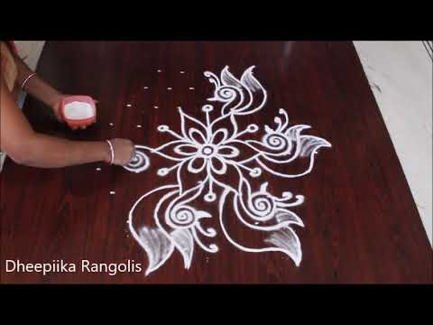 creative birds rangoli design with 9 * 5 dots II beautiful kolam designs - simple muggulu designs