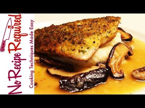 Herb Crusted Halibut With Mushrooms - NoRecipeRequired.com