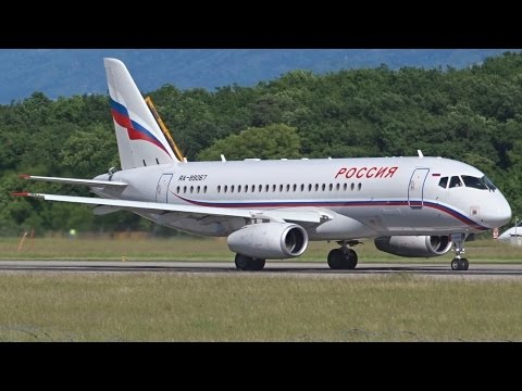 [FullHD] Russia Ministry of Emergency Situations Sukhoi Superjet takeoff at Geneva/GVA/LSGG