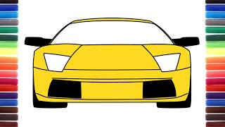How to draw a car Lamborghini Murcielago front view