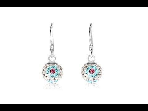 b409aac80 Šperky - Náušnice, striebro 925, biele guličky, kvety z modro-ružových  kryštálov, 8 mm
