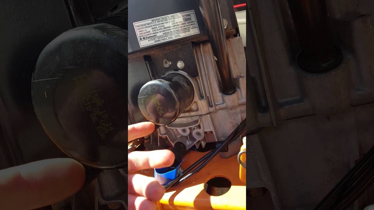 oil change on scag 36 inch advantage with a kawasaki fh480v - youtube