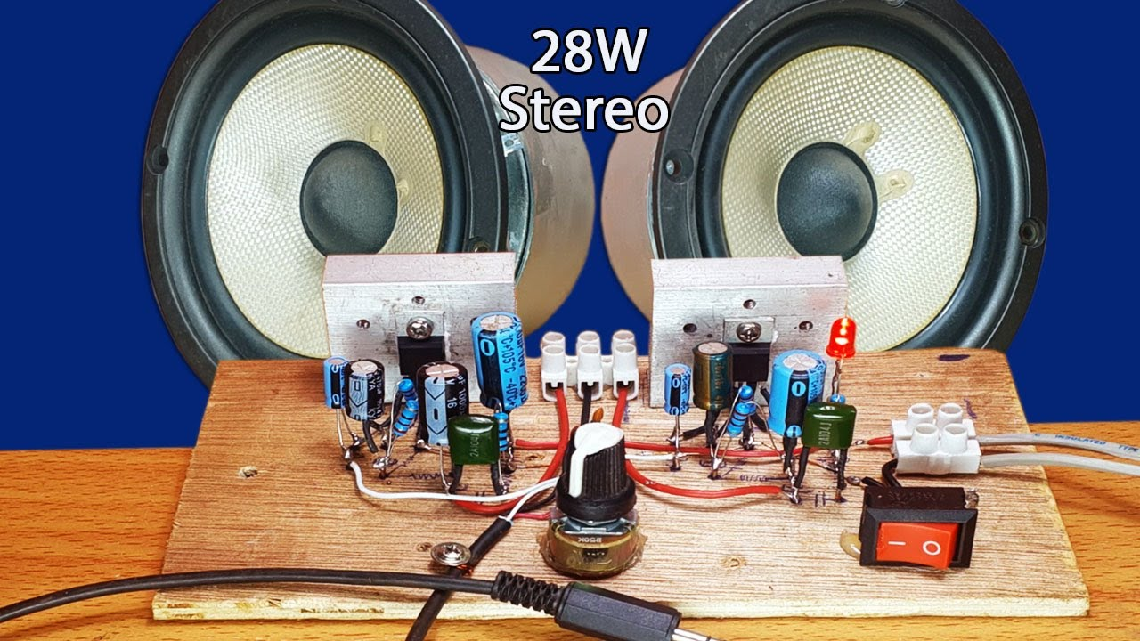 How To Make Easy Stereo Amplifier Circuit Ic Tda 2003 28w X 2 - Very Nice Sounds