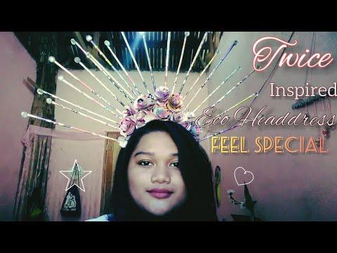 "TWICE ""FEEL SPECIAL"" M/V CHOU TZUYU inspired recycled HEADDRESS  FILIPINA CRAFTER  "