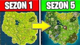 JAK BĘDZIE WYGLĄDAĆ MAPA na SEZON 5 w FORTNITE! * EWOLUCJA MAPY *- SEZON 1 VS SEZON 5! CIEKAWOSTKI!