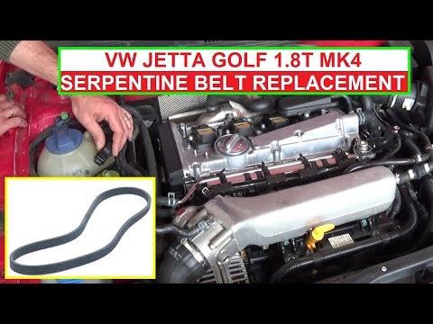 How to Replace the Serpentine Belt on Vw Jetta MK4 1.8T Golf Mk4 1.8 Turbo  - YouTubeYouTube