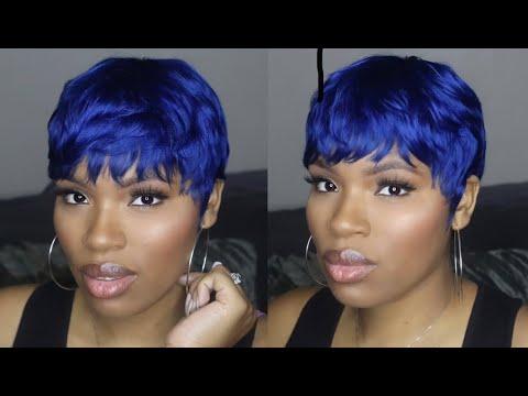 How To Empire 27 Piece By Sensationnel Blue Pixie Cut Quick Weave Simplyshon Youtube