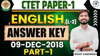 09 DEC 2018 CTET EXAM ANSWER KEY OF ( PAPER -1 ) ENGLISH LANGUAGE-2   ROHIT SIR   ADHYAYAN MANTRA  