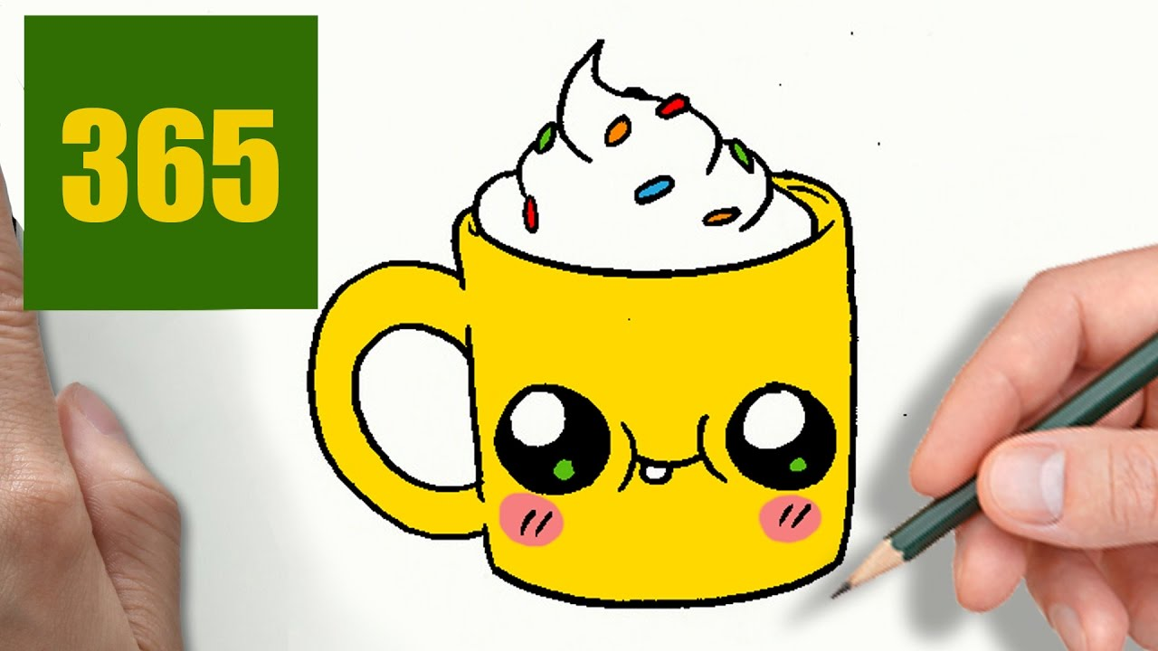 COMMENT DESSINER TASSE DE CAFÉ KAWAII ÉTAPE PAR ÉTAPE \u2013 Dessins kawaii  facile , YouTube