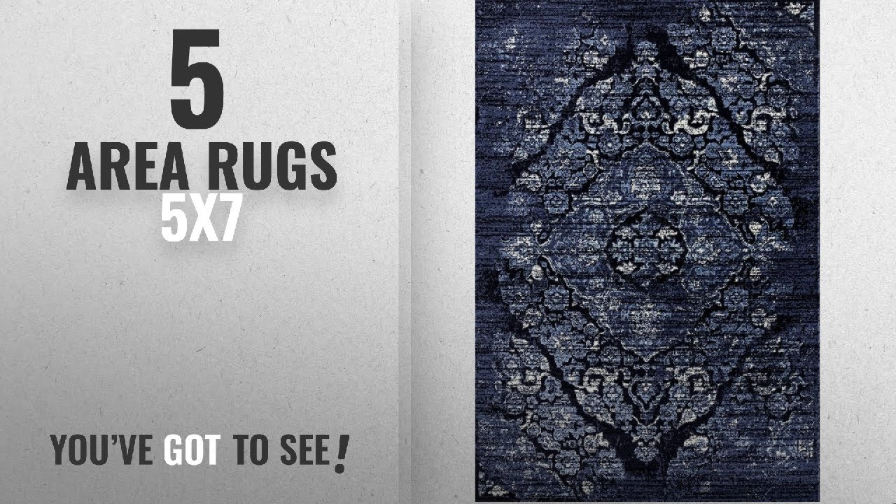 d4c29c4840c Top 10 5X7 Area Rugs  2018    4620 Distressed Navy 5x7 Area Rug Carpet Large  New
