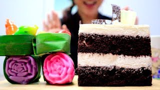 ASMR White Chocolate Mousse Cake & Thai Mini Desserts (กินขนมไทย) | Soft Eating Sounds, MUKBANG (먹방)