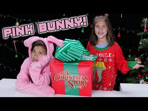 PINK BUNNY IN A BOX!!! A Christmas Story LIVE! Present Unboxing!