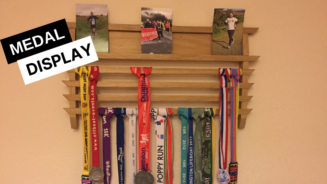 running medals display rack wood project in oak