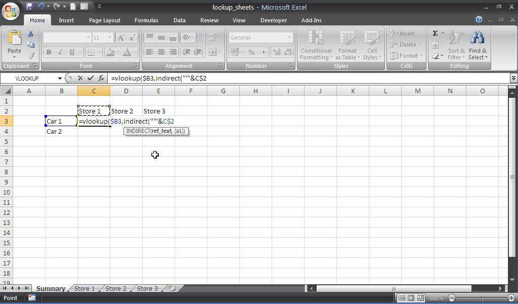 Use INDIRECT to Reference Sheets Within VLOOKUP