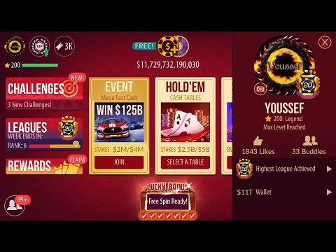 #1 ZYNGA POKER PLAYER (YOUSSEF) $11 TRILION CHIPS WALLET! BIGGEST POT WON $579.8B! LEGEND PLAYER!