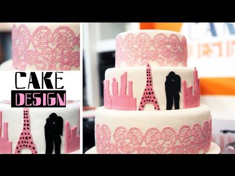 Wedding cake - Gâteau de mariage dentelles et ombres