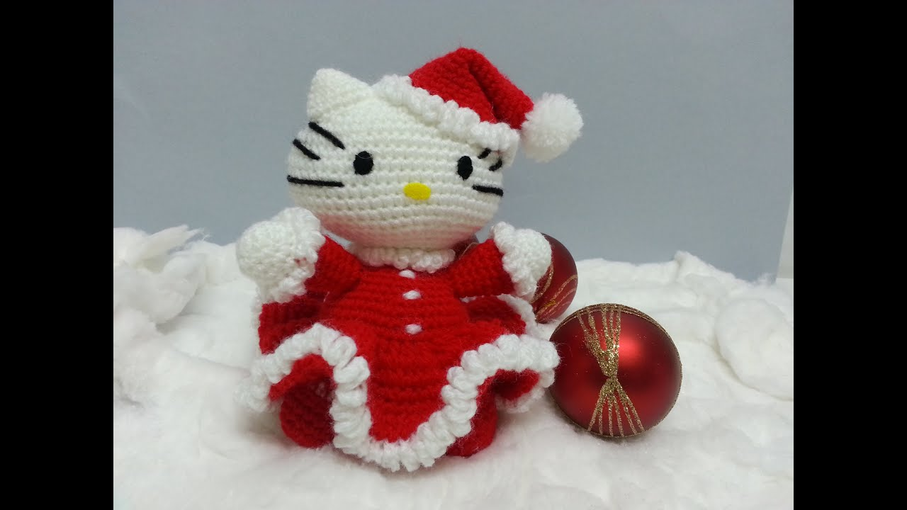 Tutorial amigurumi Hello Kitty Noel - Brazos - YouTube