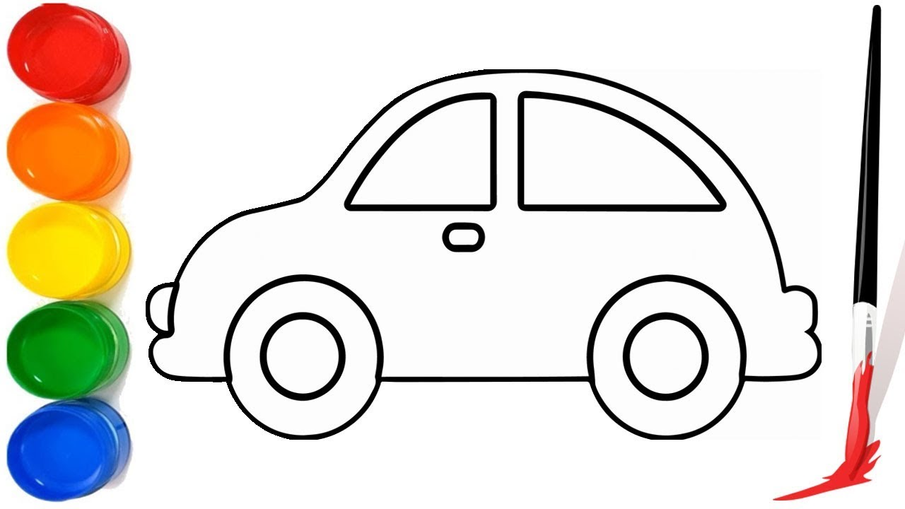 Easy Car Drawing For Children | Drawing and Coloring Car ...