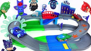 Let's play in PJ Masks Nighttime adventures rumblers track playset with Rusty Rivets! - DuDuPopTOY