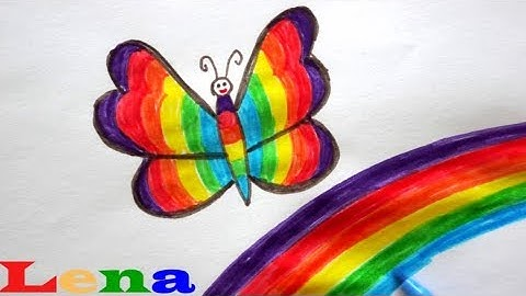 Regenbogen Schmetterling zeichnen 🦋 Malen für Kinder 🌈 How to draw a butterfly 🎨 Rainbow drawing