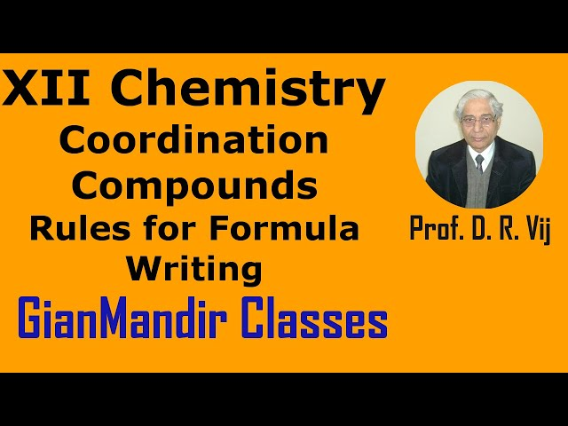 XII Chemistry | Coordination Compounds | Rules for Formula Writing by Gourav Sir