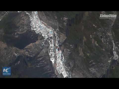 Exclusive: Satellite video shows damage of earthquake in Jiuzhaigou, SW China