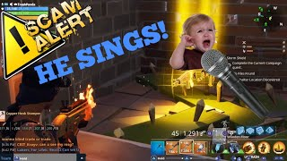 Scammer Sings For His Guns Back! (Scammer Gets Scammed For All His Guns) *FORTNITE SAVE THE WORLD*