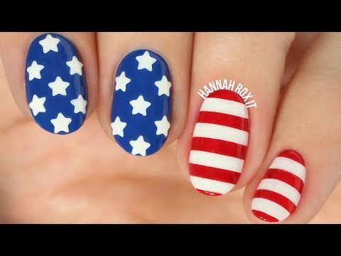 Stars & Stripes Nail Art + DIY Star Decals!