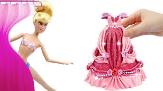 Glitter Play Doh Making Prom Dresses for Cinderella Princess 💖 DISNEY DOLL DRESS UP